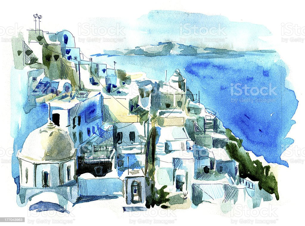 Santorini (Thira) vector art illustration