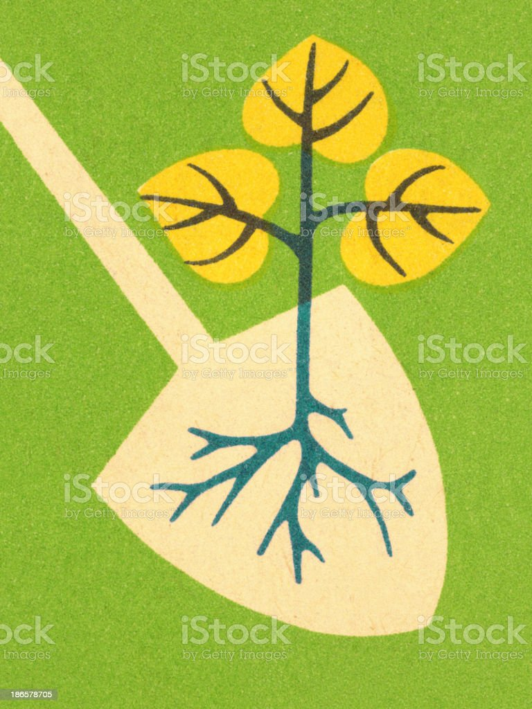 Sapling and Shovel vector art illustration