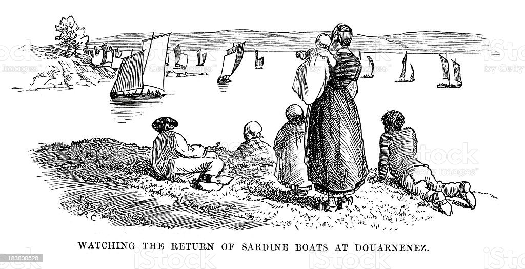 Sardine boats at Douarnenez vector art illustration