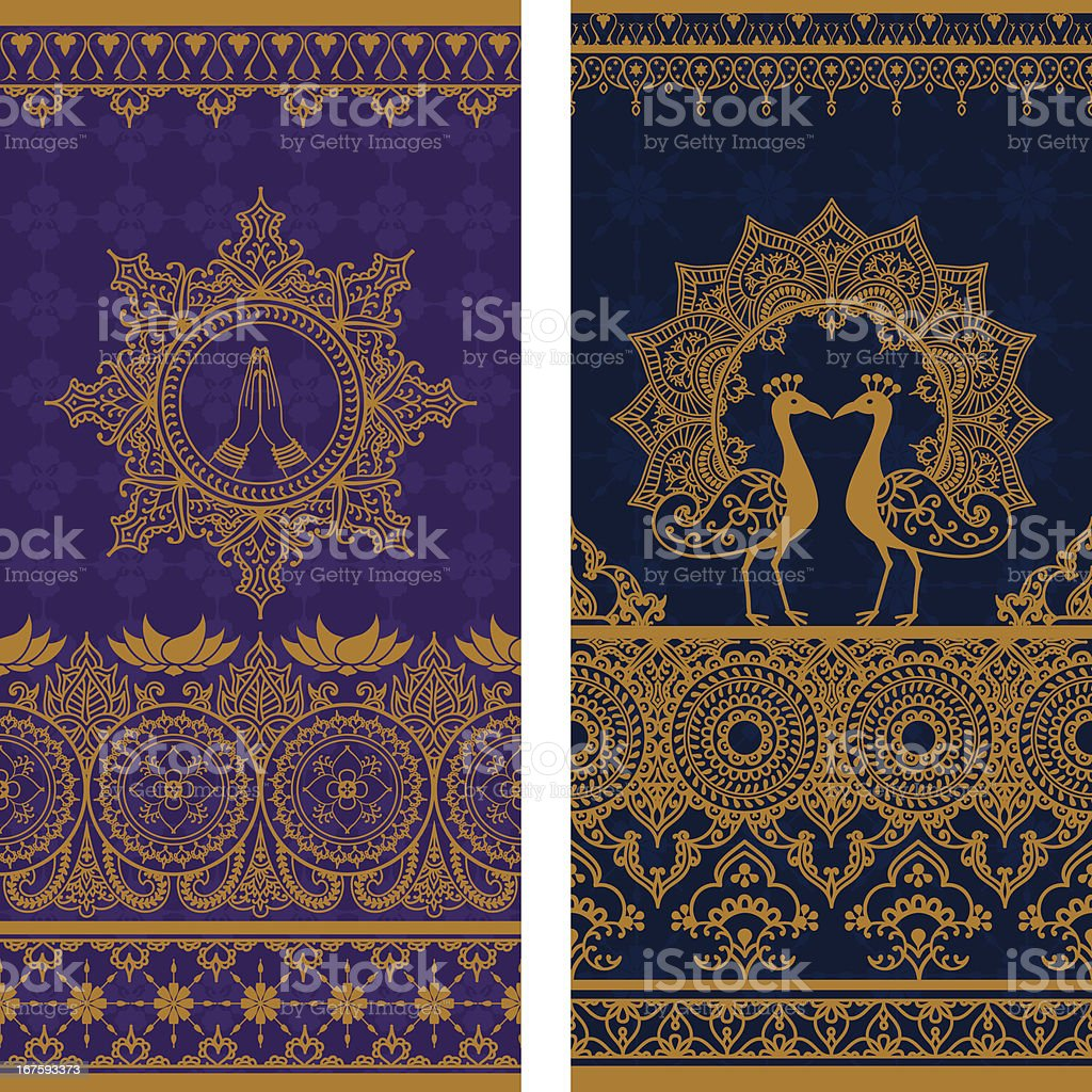 Sari Borders Tall vector art illustration