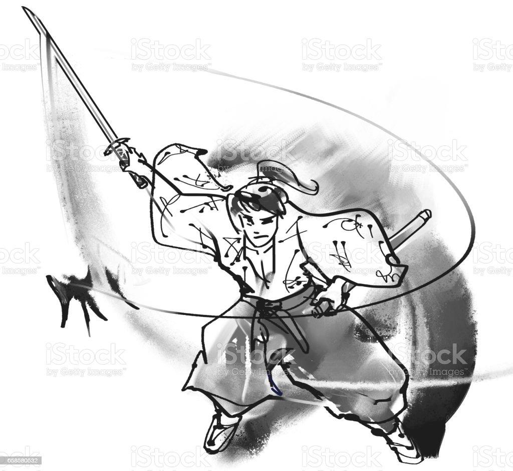 Sasaki Kojiro vector art illustration
