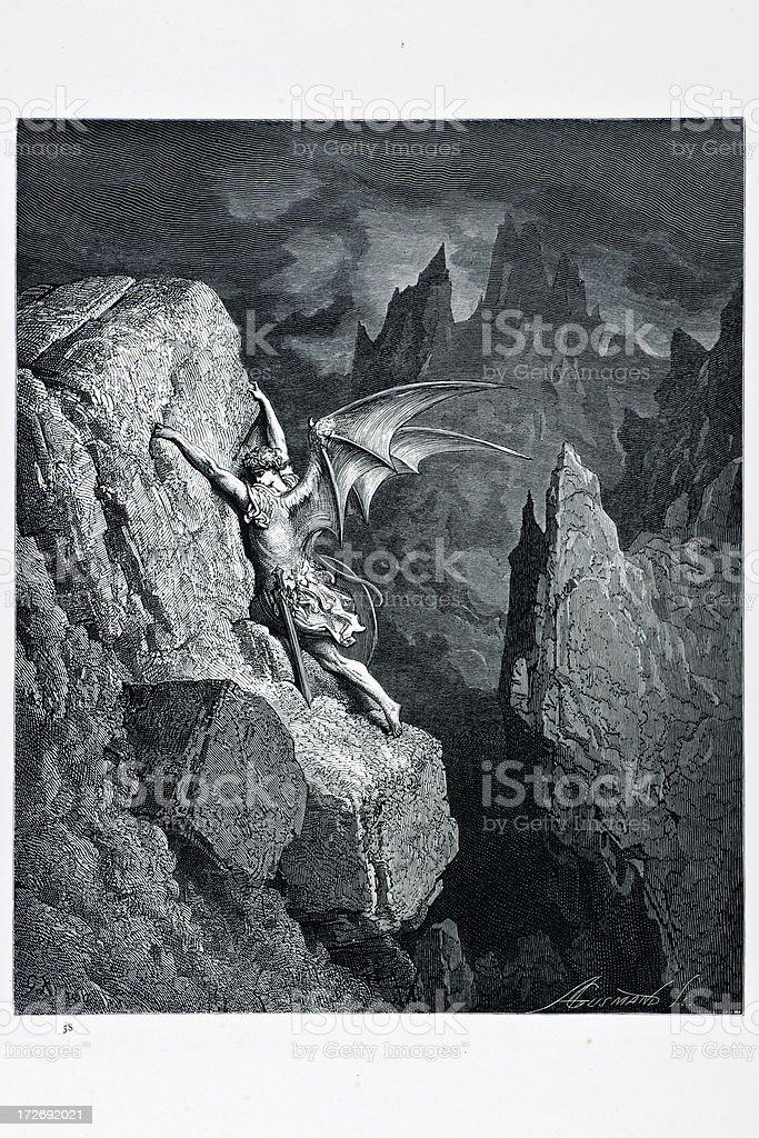 Satan's flight through chaos royalty-free stock vector art