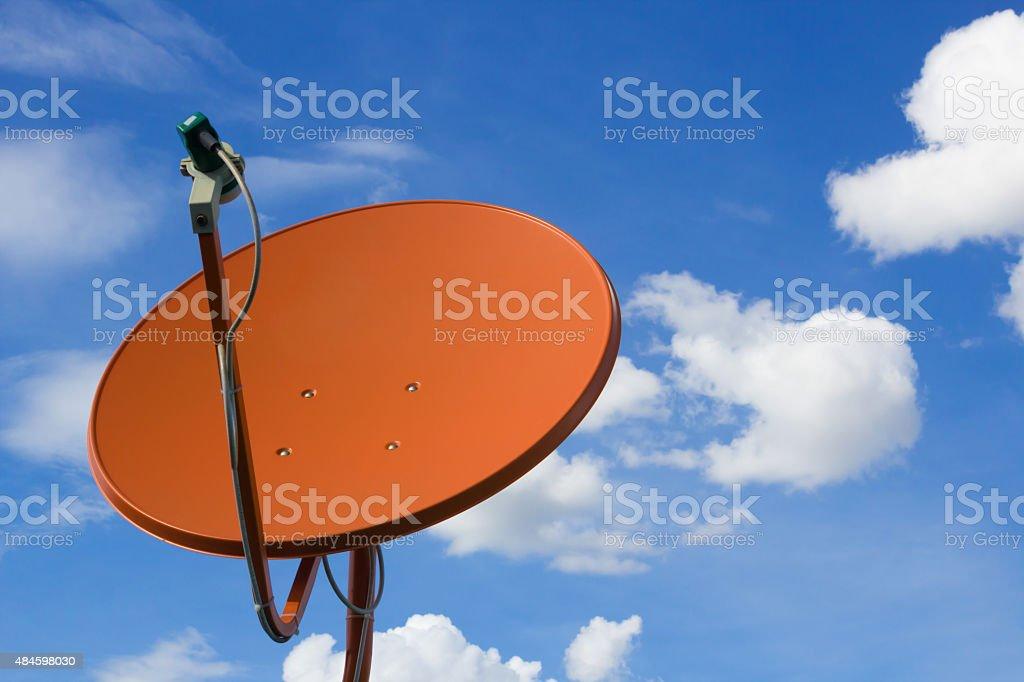 Satellite dish  on background blue sky vector art illustration