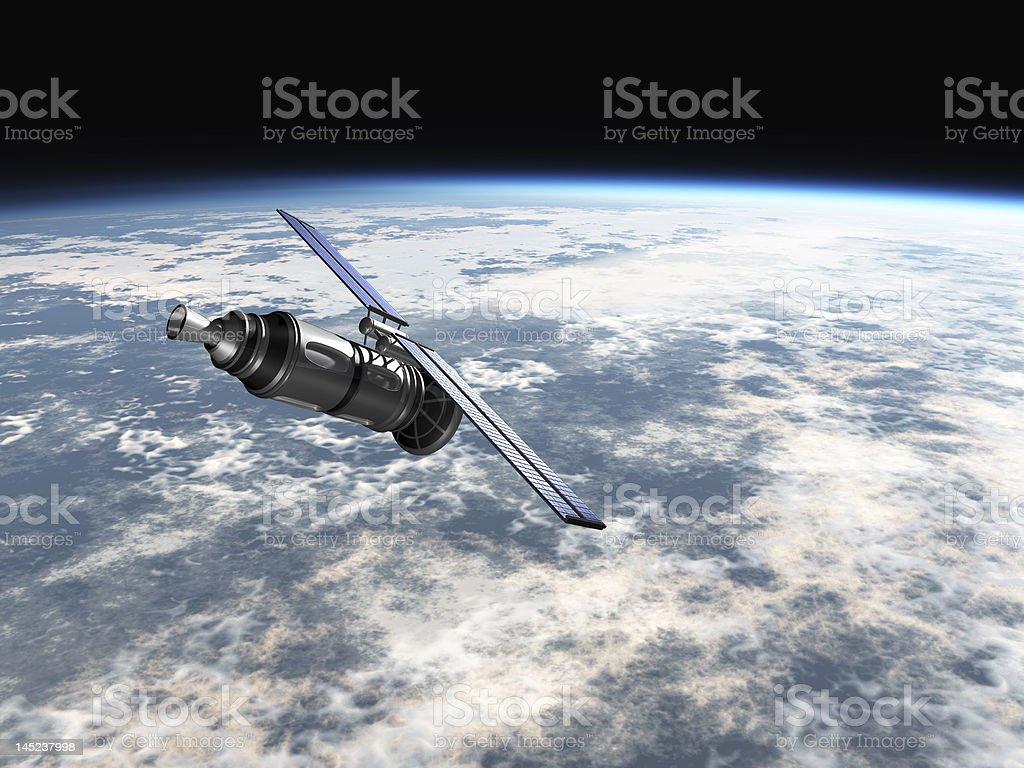 Satellite in earths atmosphere royalty-free stock vector art
