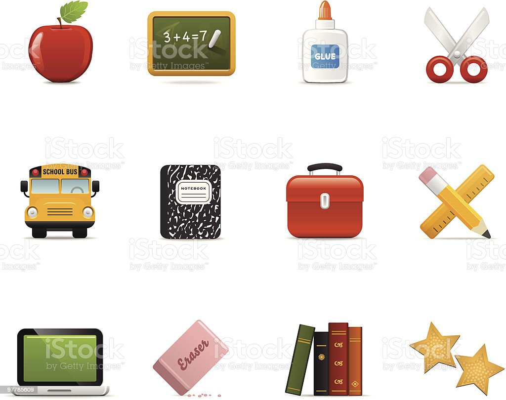 Satin Icons | Education vector art illustration