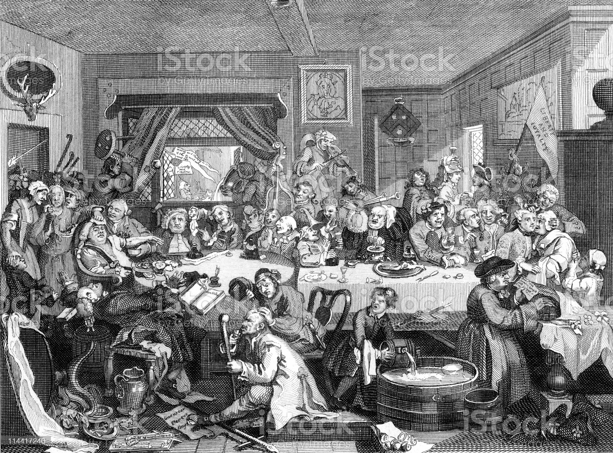 Satire of an 18th Century English Election, Part 1 royalty-free stock vector art