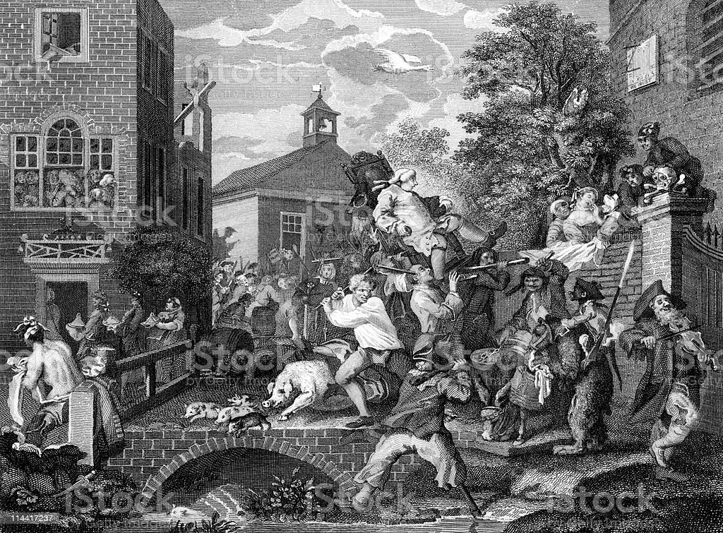 Satire of an 18th Century English Election, Part 4 royalty-free stock vector art