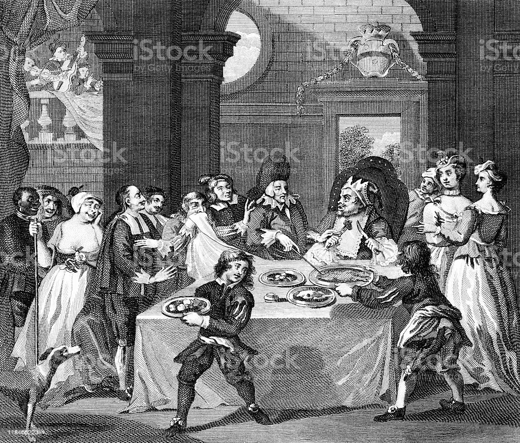 Satire of Doctor Forcing Wealthy Man to Diet, circa 1700s royalty-free stock vector art