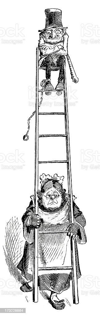 Satirical Couple - Victorian Illustration vector art illustration