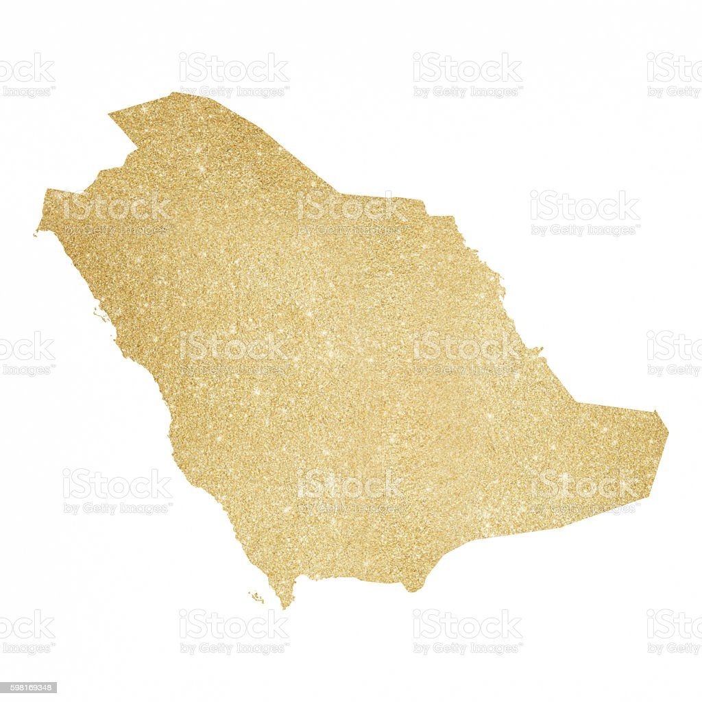 Saudi Arabia Gold Glitter Map Royaltyfree Stock Vector Art