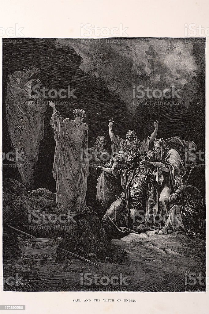 Saul and the Witch of Endor vector art illustration