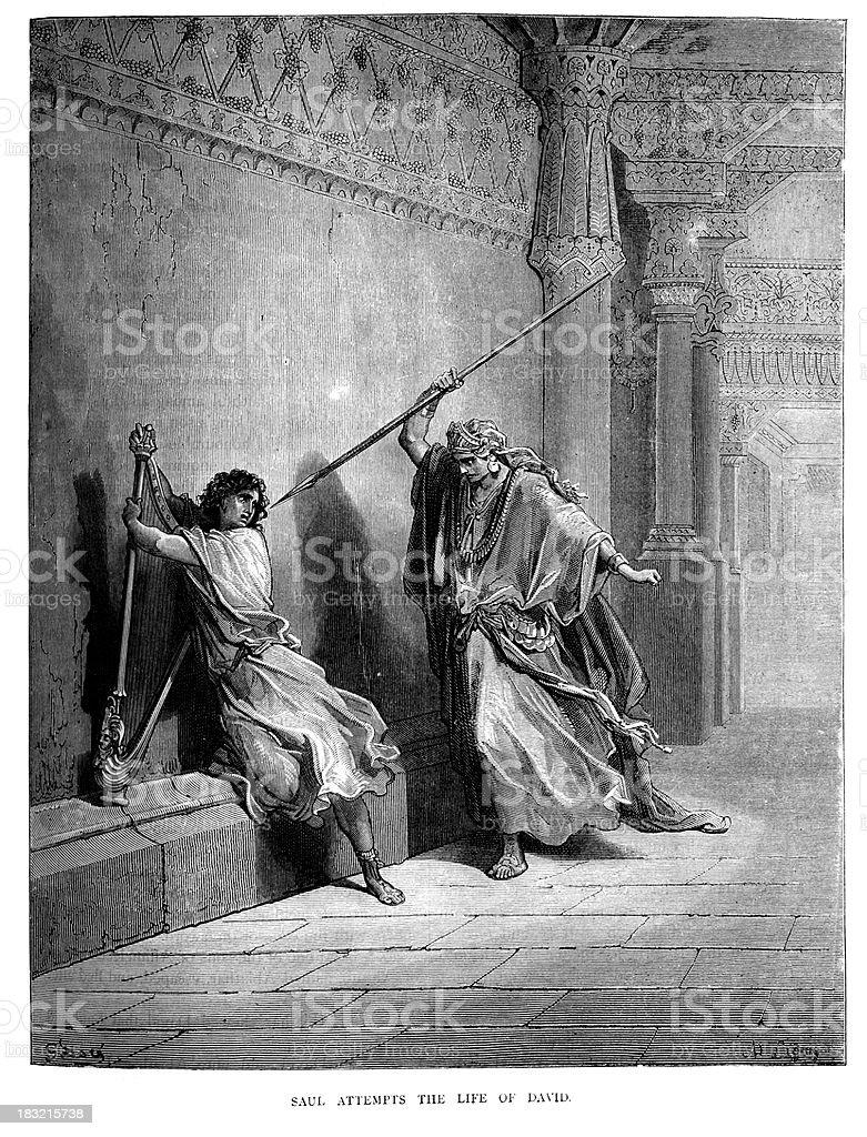 Saul attempts the life of David vector art illustration
