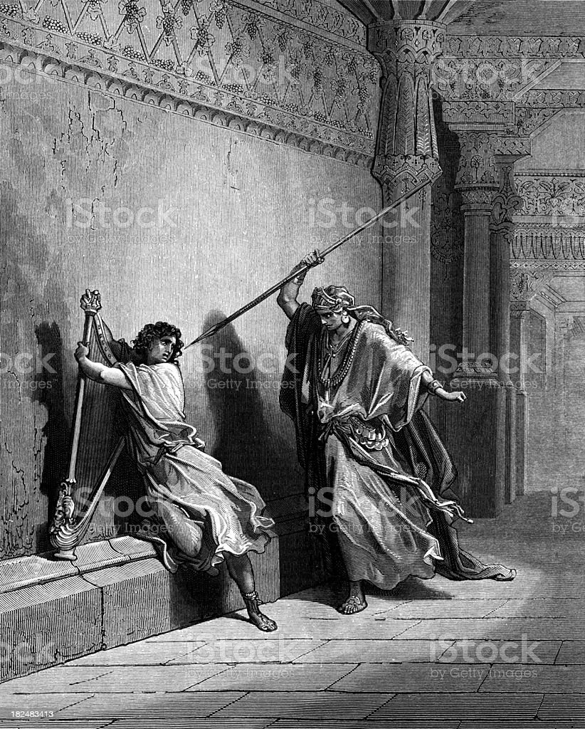 Saul tries to kill David vector art illustration