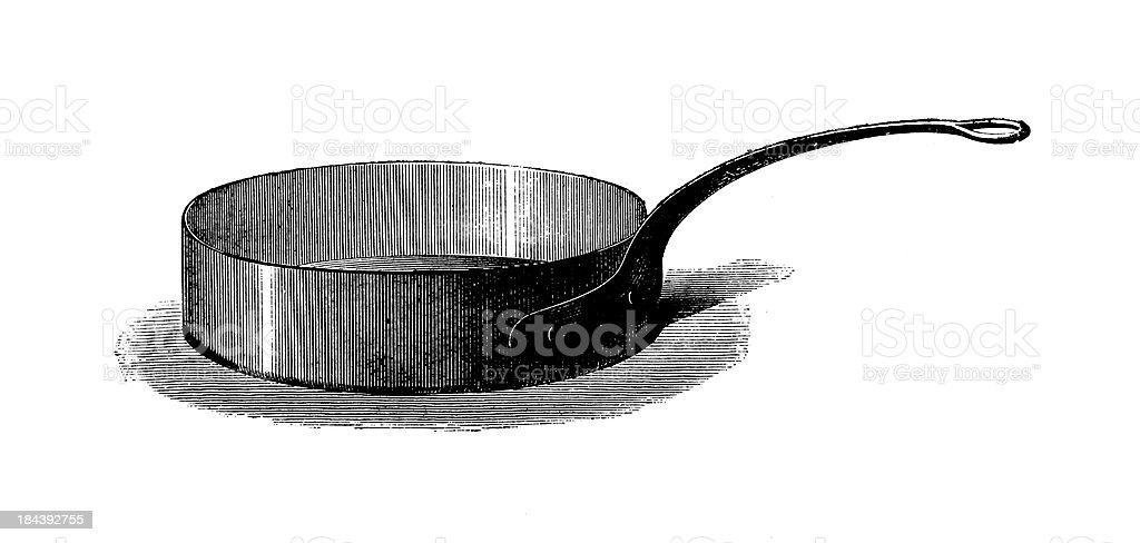 Saute pan | Antique Culinary Illustrations royalty-free stock vector art