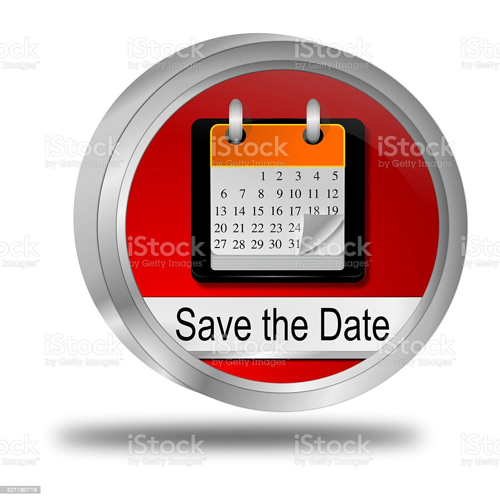 Save the Date Button stock photo