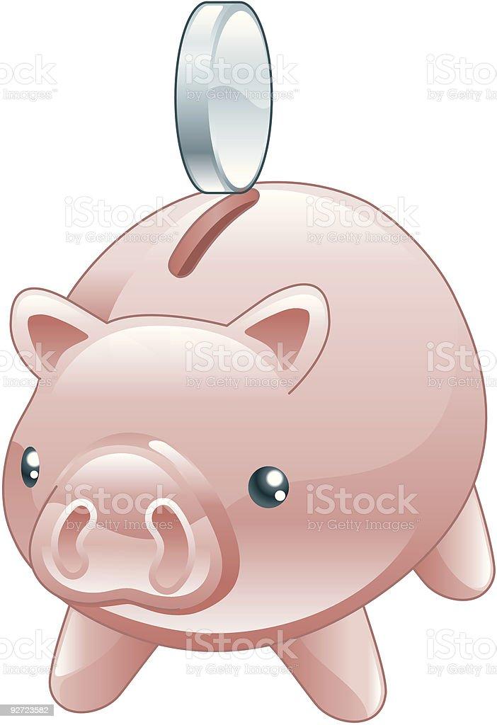 Savings Cute shiny piggy bank royalty-free stock vector art