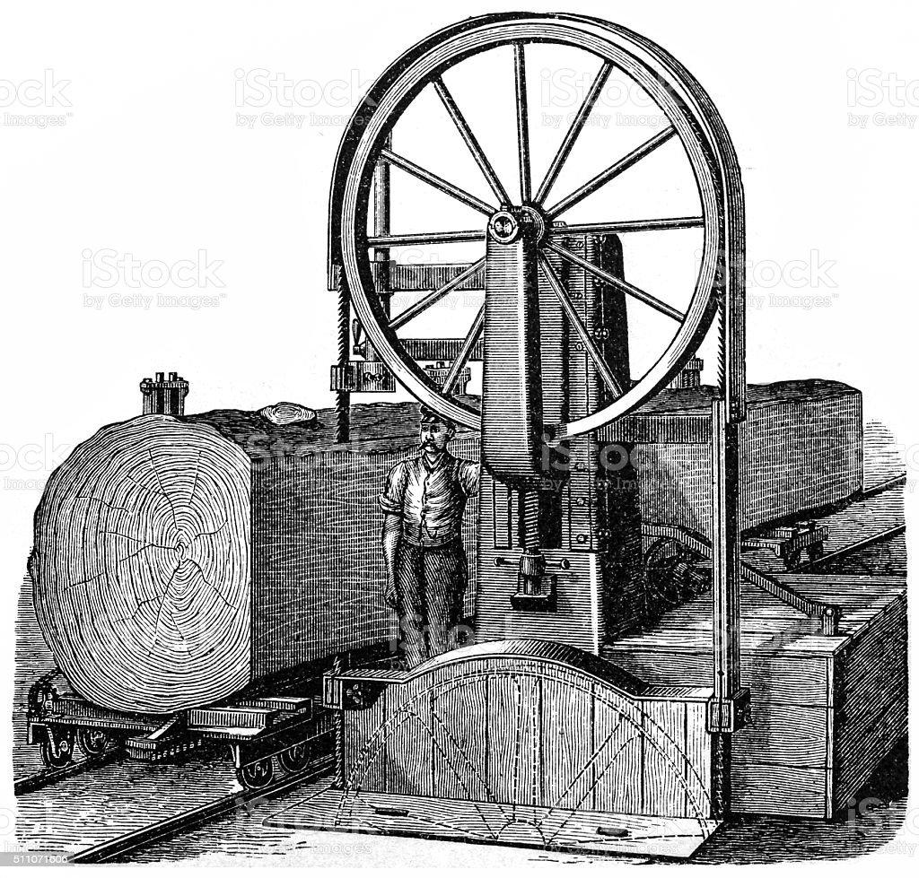 Sawing machine vector art illustration