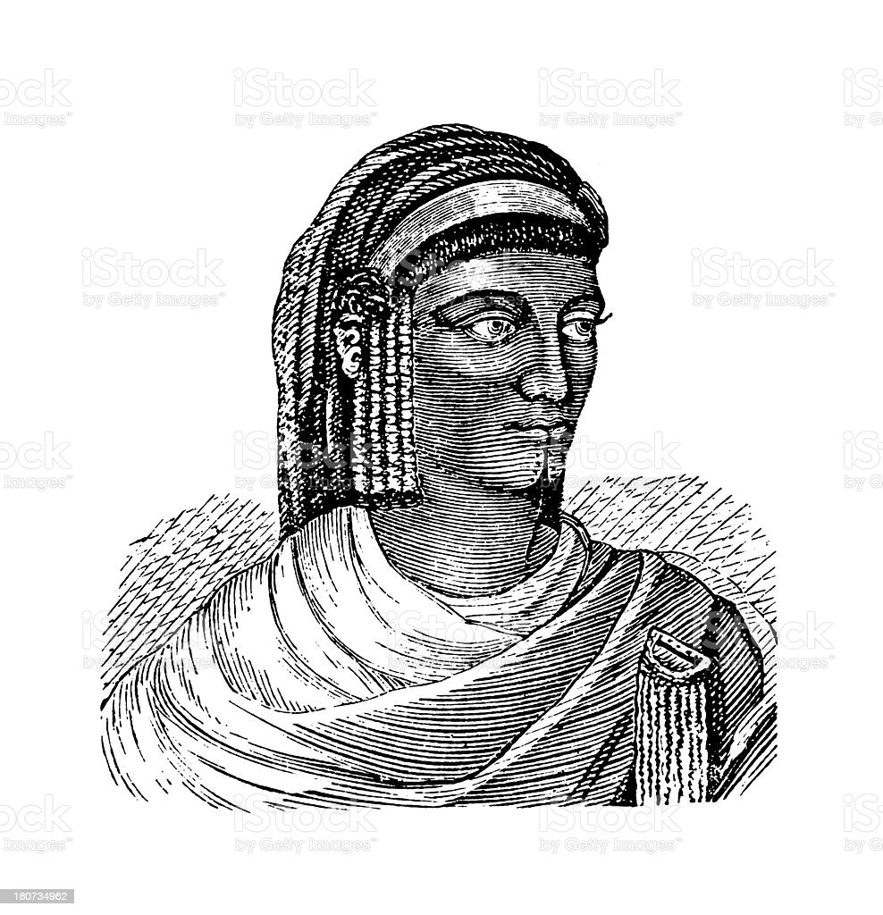 Sawknah woman (antique wood engraving) vector art illustration