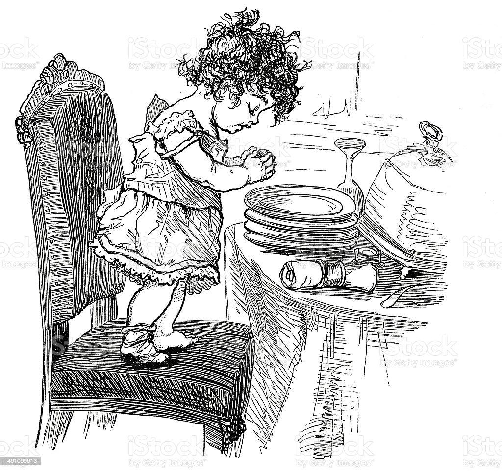 Saying Grace - Victorian Steel Engraving vector art illustration