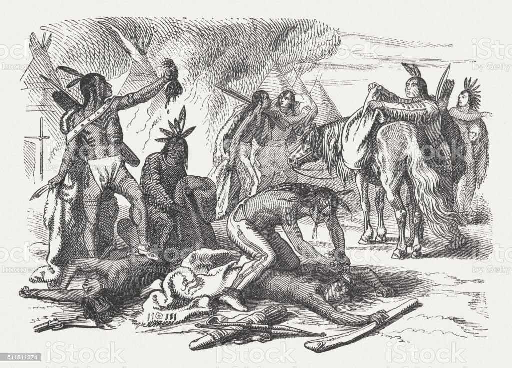 Scalping of the enemies, wood engraving, published in 1880 vector art illustration