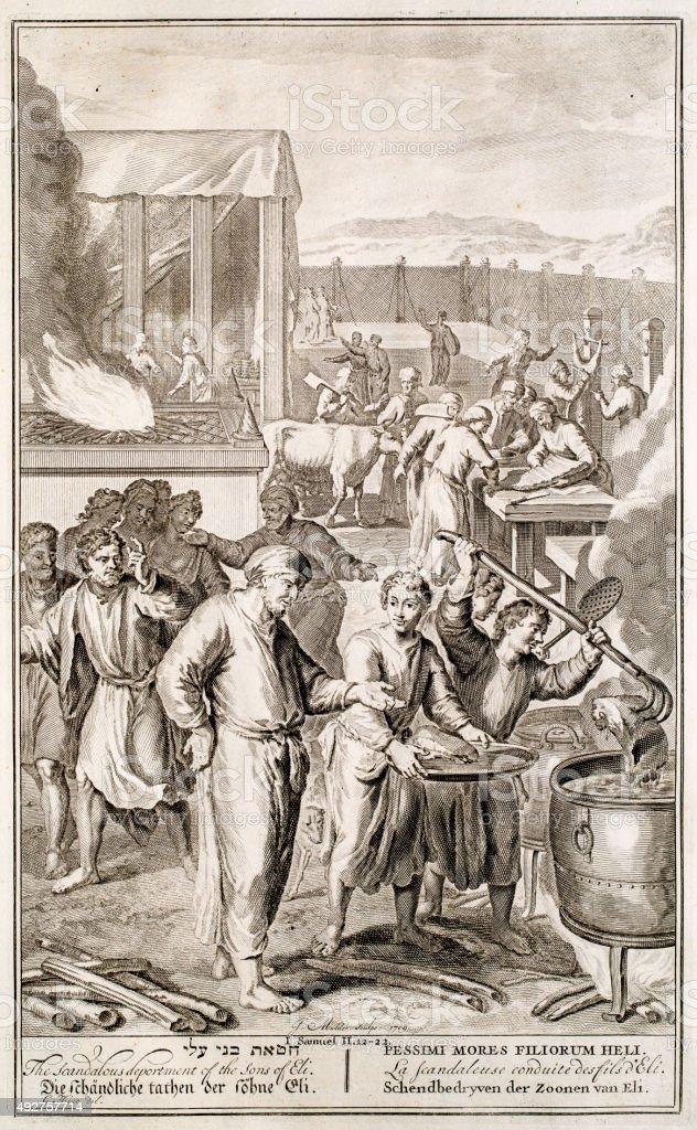 Scandalous deportment, Samuel 2, 18th century Bible vector art illustration