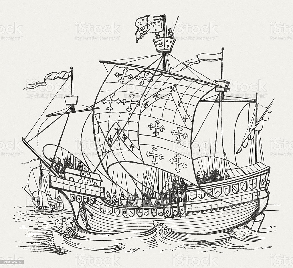 Scandinavian ship from 12th century, wood engraving, published in 1880 vector art illustration