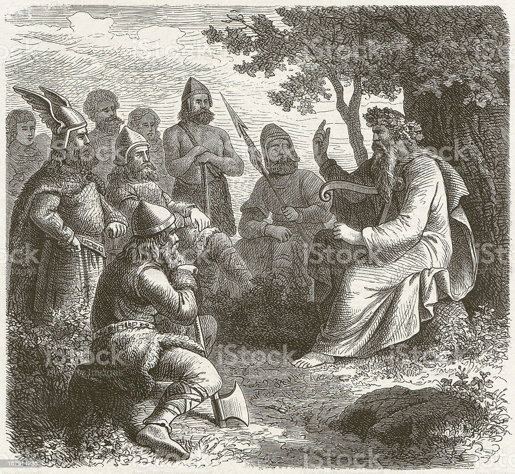 Scandinavian skald in the middle ages, wood engraving, published 1881 vector art illustration