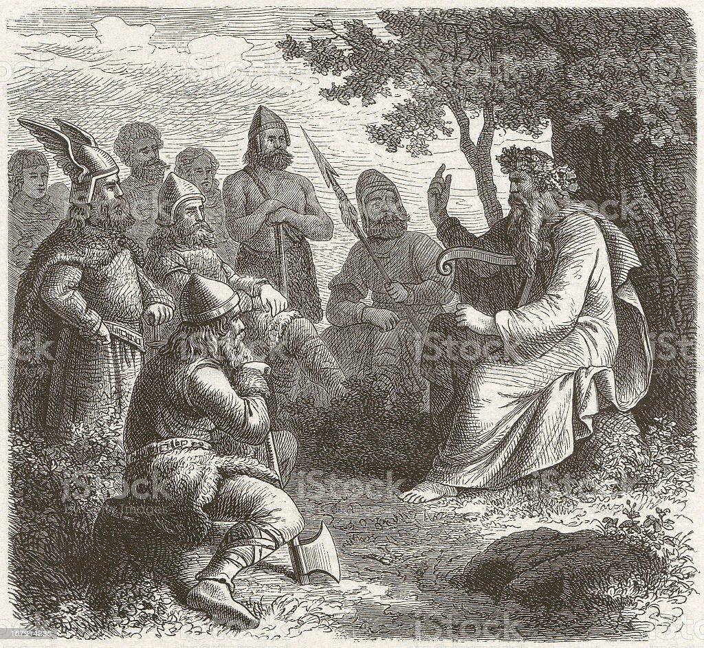 Scandinavian skald in the middle ages, wood engraving, published 1881 vector art illustration