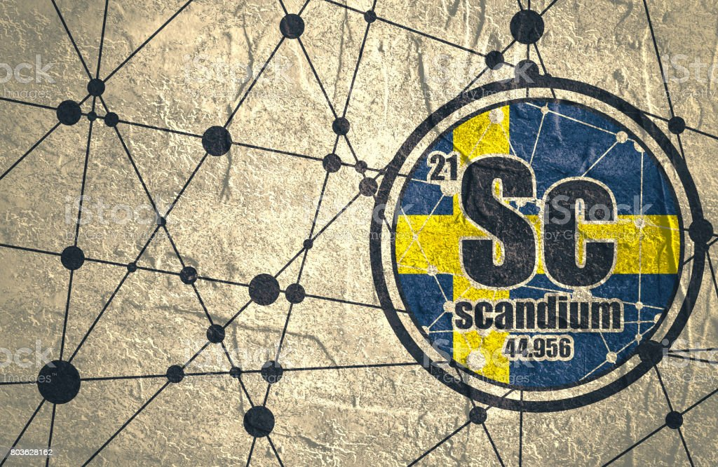 Scandium chemical element. vector art illustration