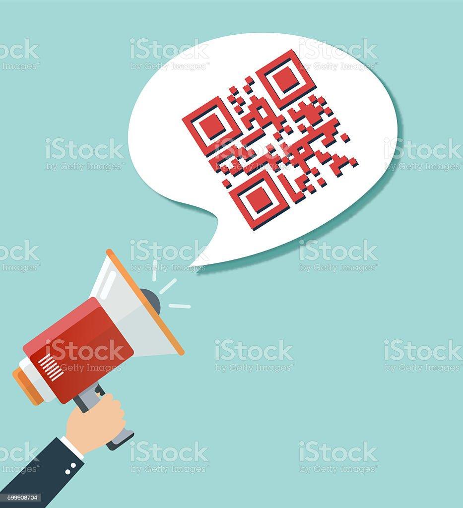 QR Scanning Sign vector art illustration