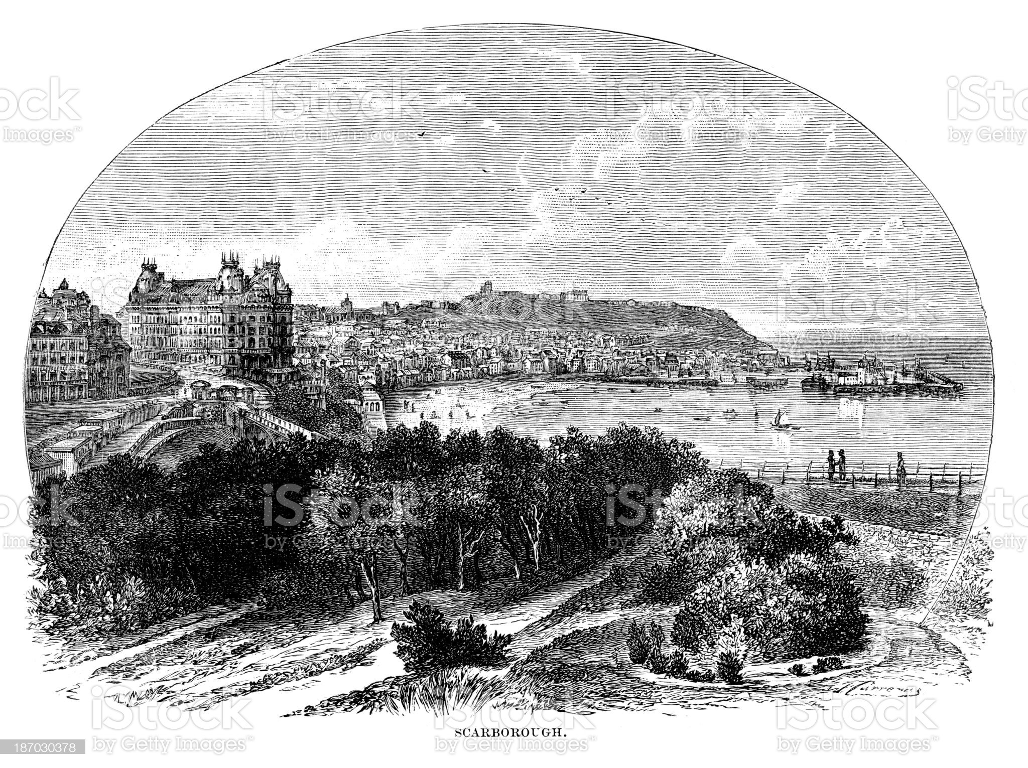 Scarborough in the 19th Century royalty-free stock vector art
