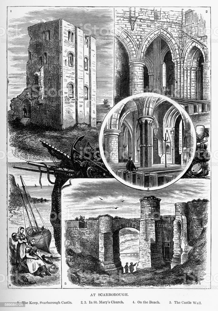Scarborough Landmarks in Yorkshire, England Victorian Engraving, 1840 vector art illustration