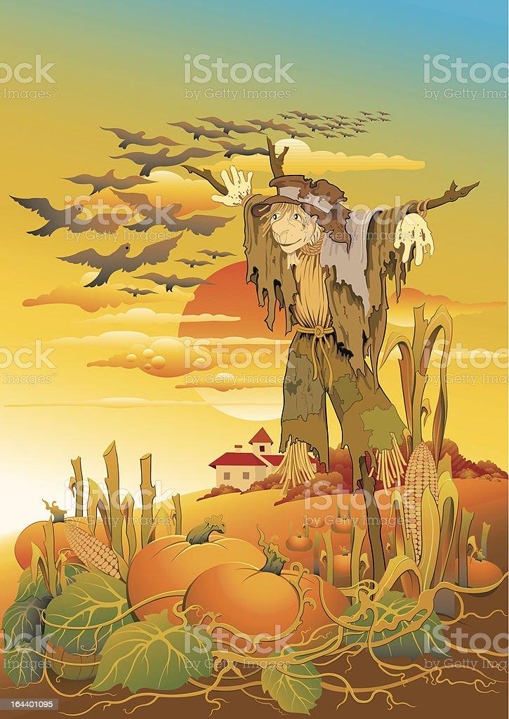 Scarecrow saying goodbye to birds vector art illustration