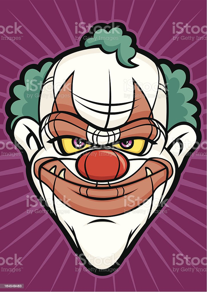 Scary Clown Halloween Head Monster Face royalty-free stock vector art