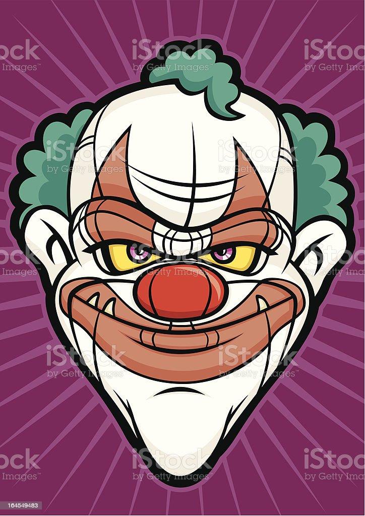 Scary Clown Halloween Head Monster Face vector art illustration