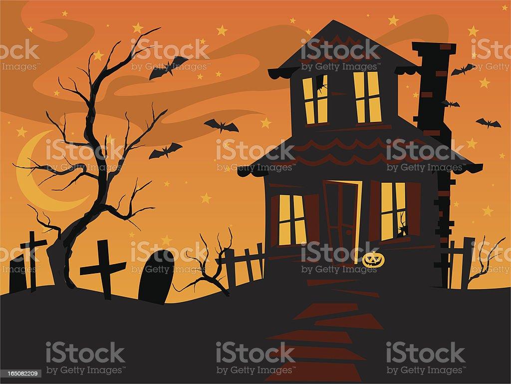 scary orange house vector art illustration