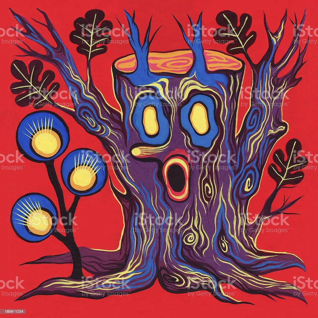 Scary stump vector art illustration