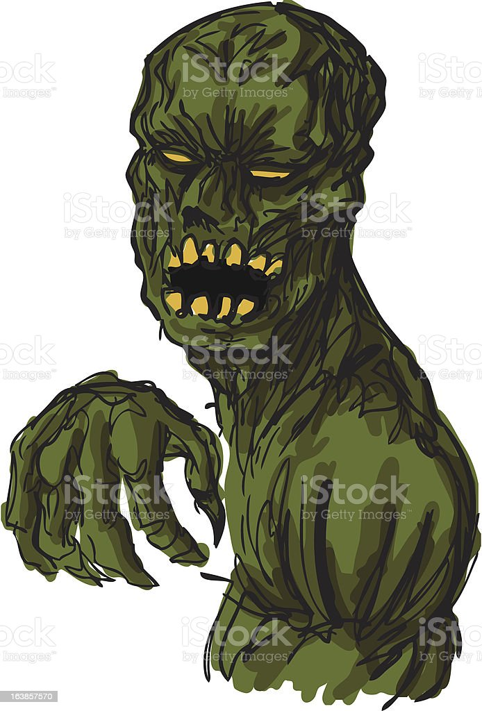 Scary undead zombie illustration royalty-free stock vector art