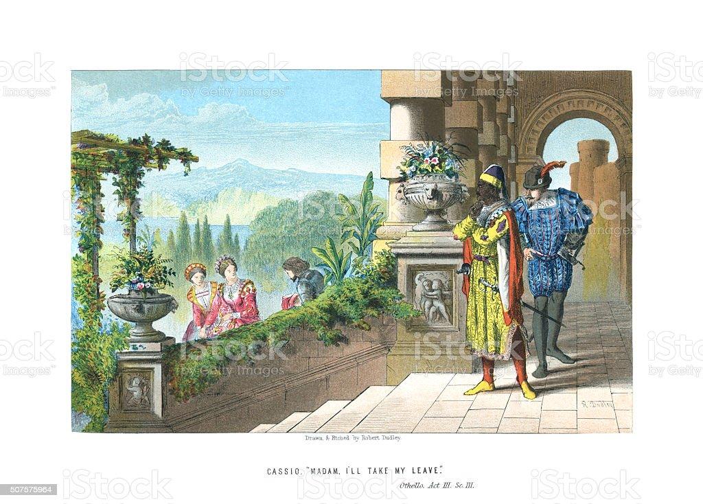 Scene from 'Othello' Act 3 Scene 3 vector art illustration