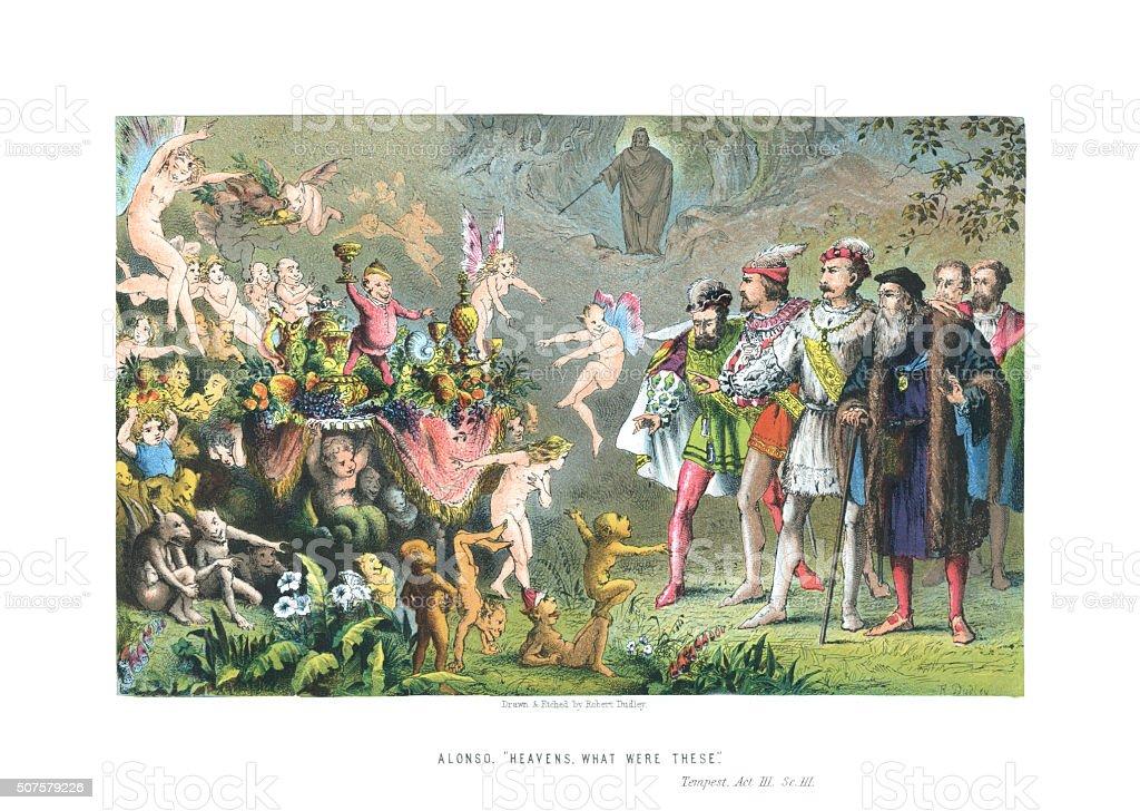 Scene from 'The Tempest' Act 3 Scene 3 vector art illustration