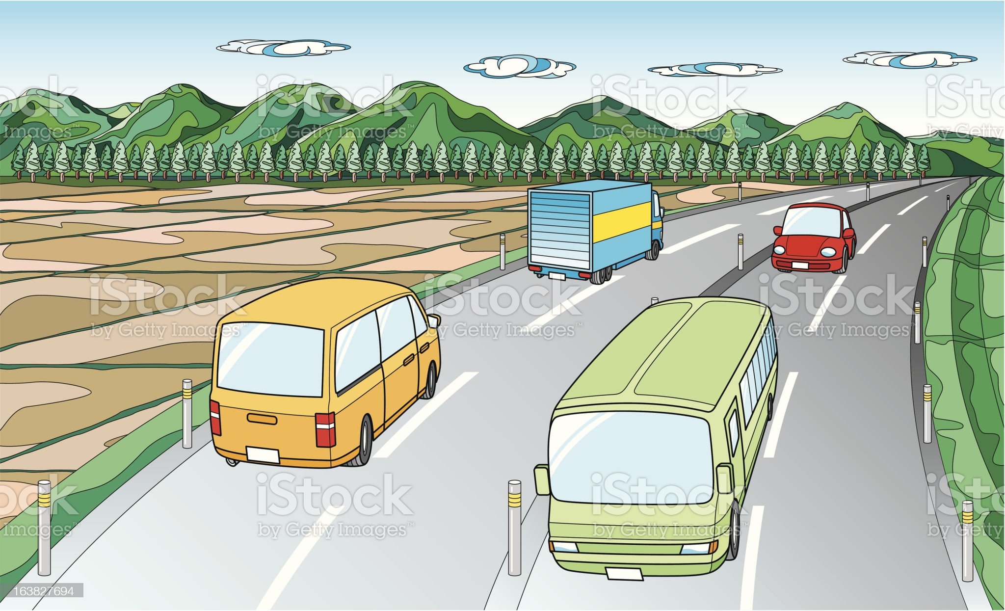 Scenery with road royalty-free stock vector art