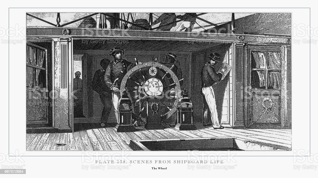 Scenes from Shipboard Life Engraving, 1851 vector art illustration