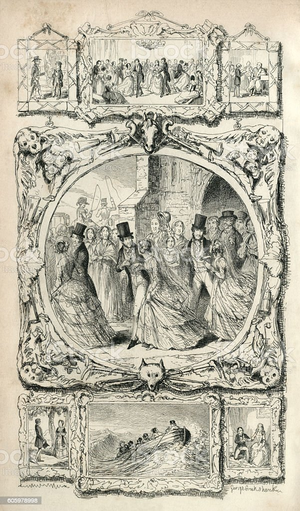 Scenes from Victorian life vector art illustration