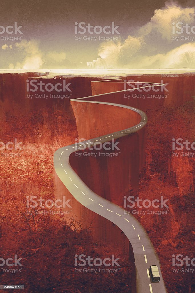 scenic drive,extreme winding road with cliff vector art illustration