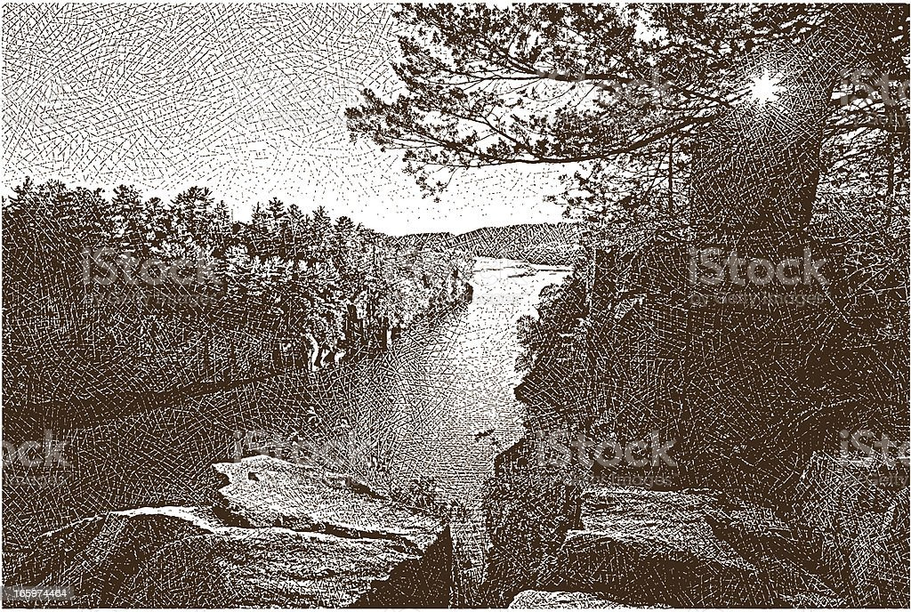 Scenic River at Sunset royalty-free stock vector art