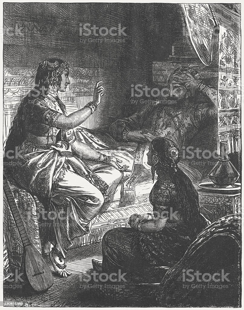Scheherazade tells her first fairy tale, wood engraving,published 1864 vector art illustration
