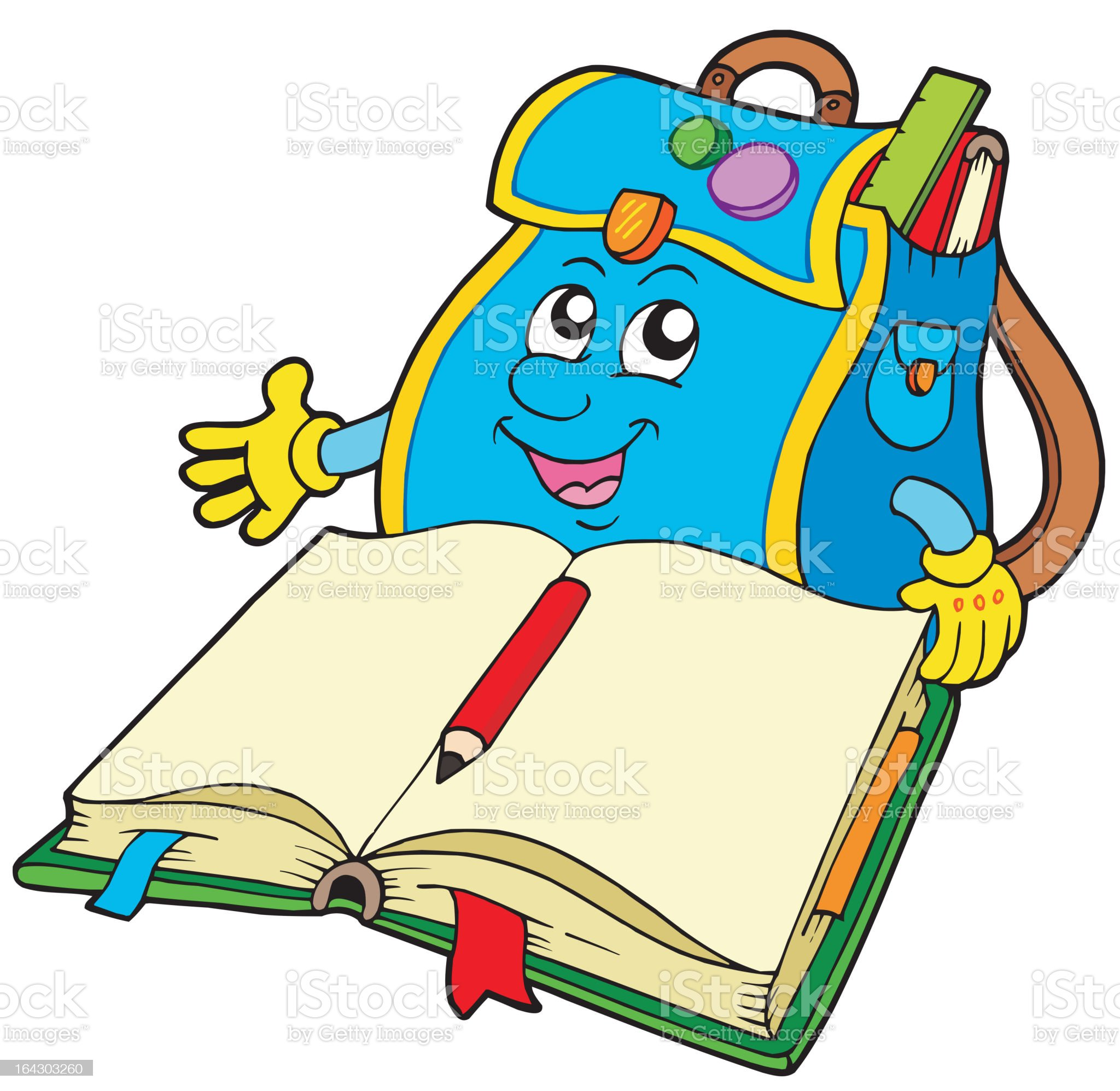 School bag reading book royalty-free stock vector art