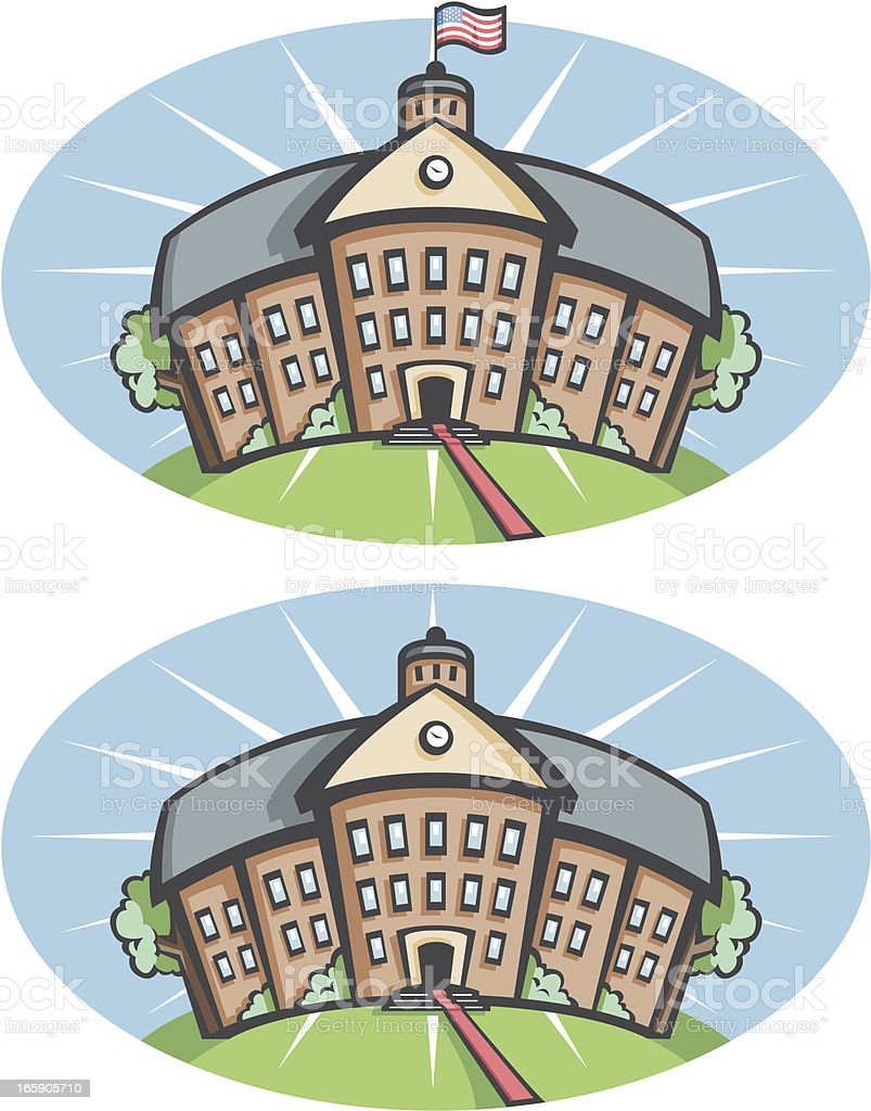 School building vector art illustration