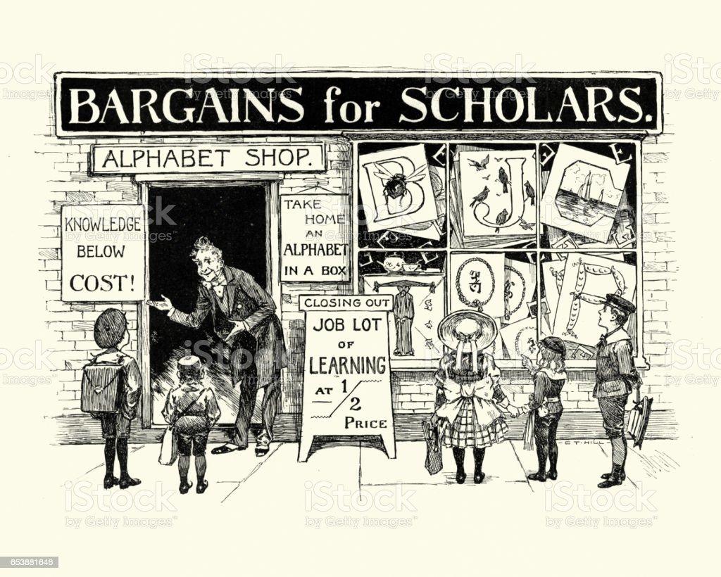 School children outside a victorian school supplies shop vector art illustration