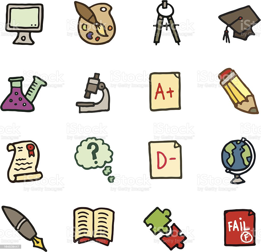 School doodle icons royalty-free stock vector art
